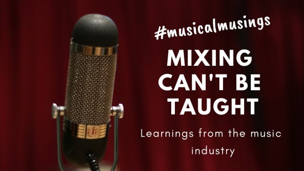 """Mixing Can't be Taught """"Mixing can't be taught but it can be learned."""" Eric Sarafin Eric """"Mixerman"""" Sarafin said this in his book Zen and The Art of Mixing. It is most informed discussion of mixing I have ever consumed… and I've watched a lot of tutorials on Youtube and Mix with The Masters. Imagine you've never played football (soccer) before (bare with me). I can sit you down and explain the techniques, tactics, strategy then send you out on to the pitch for a game but you would be as good as useless because you've never actually kicked a ball. The same can be said of mixing. Or indeed, producing, composing, writing etc. You can only truly learn by actually doing it. Over and over and over again. Why do I say this? Because the vast majority of learning resources focus on the technicalities of mixing. For example how to use EQ or a compressor. This is great but only hours of using a compressor and teaching your brain what to listen for will actually yield any real progress or understanding. I used a spend a lot of time looking at compressor settings on videos in order to copy them for my mixes. This demonstrated my lack of understanding about what a compressor does and how to use it… I should have been using my ears. What set's 'Zen and The Art of Mixing' apart is it's holistic approach. By this I mean it looks at the process as a whole. The kind of mindset you need to approach mixing. Only when you truly understand what you are trying to actually achieve with your mix, can you effectively implement it. Having also spent years mixing on the fly cannot speak highly enough of treating the mix as a completely independent process. So rather than writing, recording and mixing as you go, focus on the writing/recording. Then sit down with fresh ears and no plugins (other than specific creative effects) and mix from scratch. Learn what the tools do but then spend hours using them. But also, before you start, read """"Zen and The Art of Mixing"""" and make sure you understand wha"""